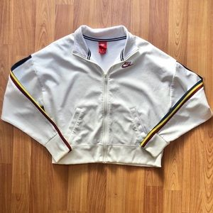 Nike White Zip Up Striped Sleeve Track Jacket